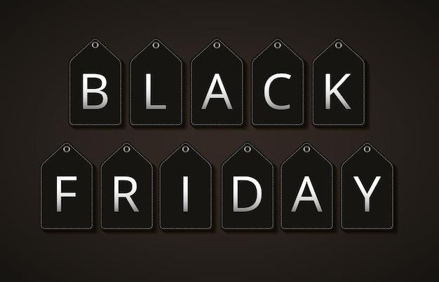 Zwarte vrijdagbanner met zwarte etiketten op zwarte achtergrond