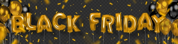 Zwarte vrijdagbanner van opgeblazen letters en ballonnen