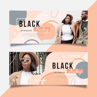 Zwarte vrijdagbanners met foto in vlak ontwerp