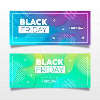 Zwarte vrijdagbanners met kleurovergang