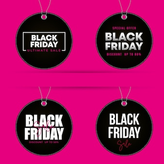 Zwarte vrijdagetiketten cirkelvorm die met kortingen over roze achtergrond wordt geplaatst