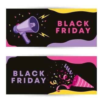 Zwarte vrijdagsjabloon met megafoon en wimpels vlakke kleuren