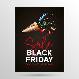 Zwarte vrijdagsjabloon tussen streamers en verkooptekst