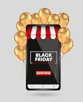 Zwarte vrijdagsjabloon voor smartphone met gouden ballonnen. winkel concept
