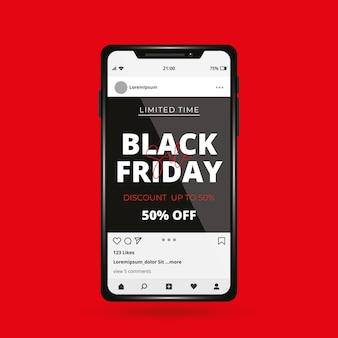 Zwarte vrijdagsjabloon voor smartphone. sociaal netwerk