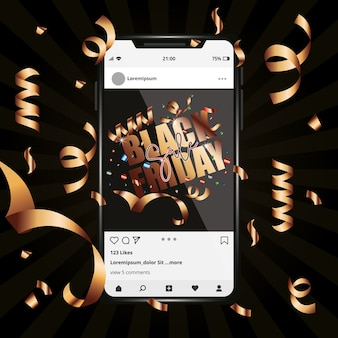 Zwarte vrijdagsjabloon voor smartphone tussen streamers. sociaal netwerk
