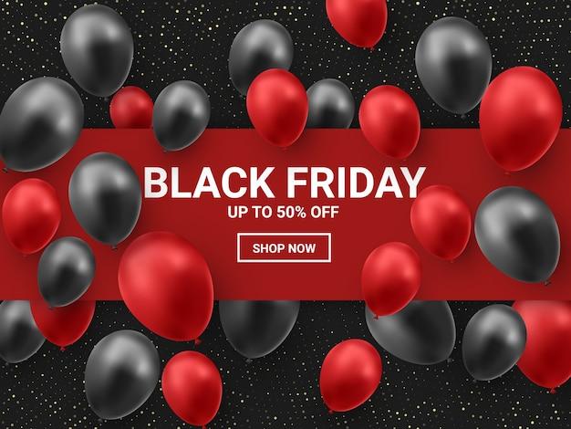 Zwarte vrijdagverkoop met glanzende ballonnen en rood vierkant frame.