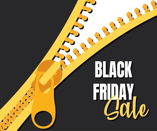 Zwarte vrijdagverkoop met gouden ritssluiting. geel reclamepictogram om detailhandel te promoten, klanten aan te trekken. verkoop van verschillende goederen voor een beperkte tijd.