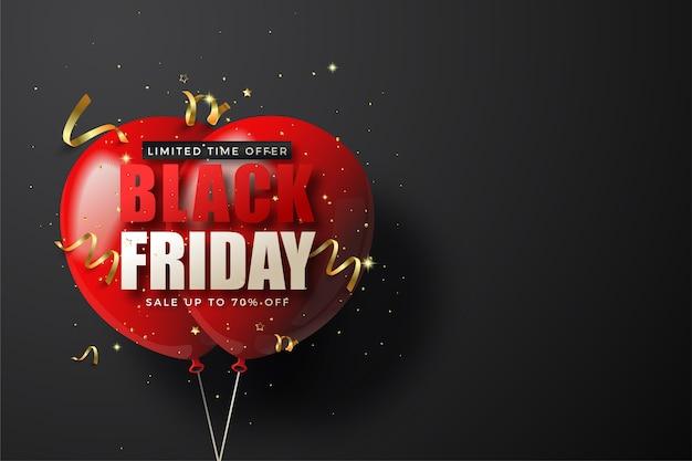 Zwarte vrijdagverkoop met twee rode 3d ballons.