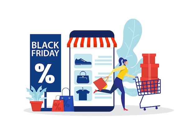Zwarte vrijdagwinkel, vrouwenwinkel online stor, promo aankoop marketing illustratie