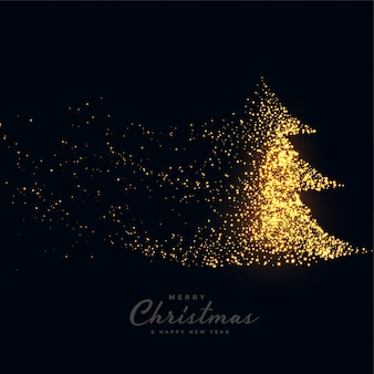 Zwarte vrolijke kerstmisachtergrond met fonkelende boom