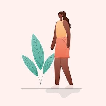 Zwarte vrouw cartoon met bladeren ontwerp, meisje vrouwelijke persoon mensen menselijke en sociale media-thema