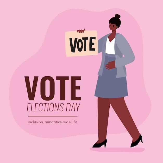 Zwarte vrouw cartoon met stem aanplakbiljet ontwerp, stemming verkiezingen dag