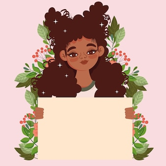 Zwarte vrouw demonstrant bedrijf plakkaat