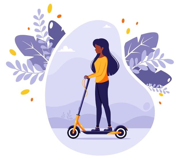Zwarte vrouw elektrische kick scooter rijden. modern eco-transport. stedelijk voertuig. illustratie in vlakke stijl.