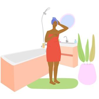 Zwarte vrouw in de badkamer meisje in de badkamer badkamer interieur