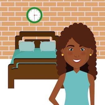 Zwarte vrouw in de scène van het bedkarakter