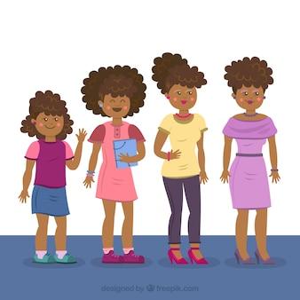 Zwarte vrouw in verschillende leeftijden