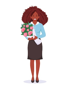 Zwarte vrouw met boeket bloemen vrouwendag moederdag lerarendag