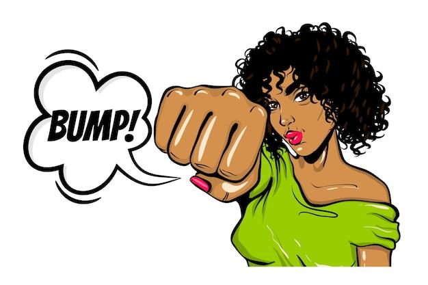 Zwarte vrouw pop-art stijl wauw gezicht show hobbel kick