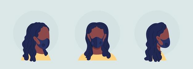 Zwarte vrouw semi-egale kleur vector karakter avatar met masker set