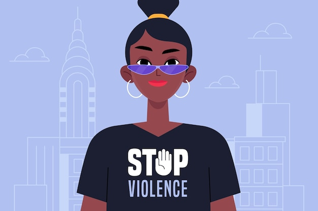 Zwarte vrouw stopt met geweld tegen vrouwen