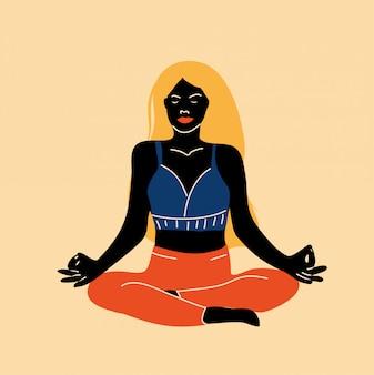 Zwarte vrouw zitten mediteren