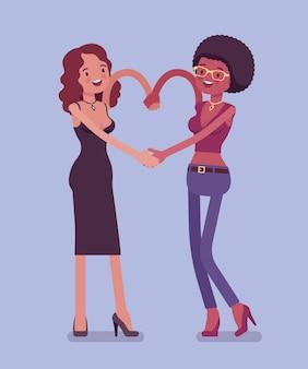 Zwarte vrouwelijke vriendschap hand hartgebaar