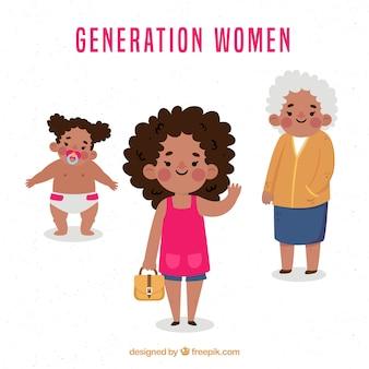 Zwarte vrouwencollectie in verschillende leeftijden