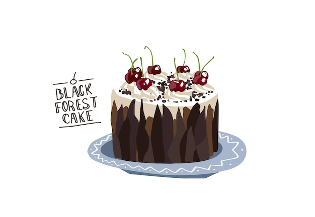 Zwarte woud taart schwarzwald torte traditionele taart duitse woestijnen zoete kers platte ontwerp