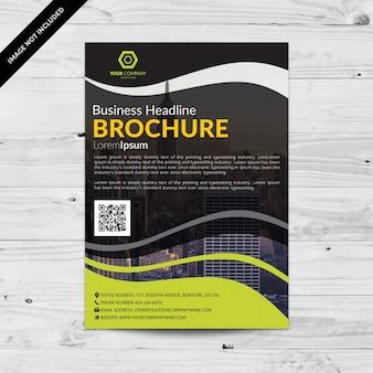 Zwarte zakelijke brochure met groene golvende details