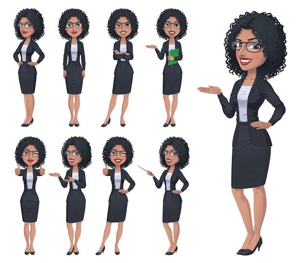 Zwarte zakenvrouw tekenset