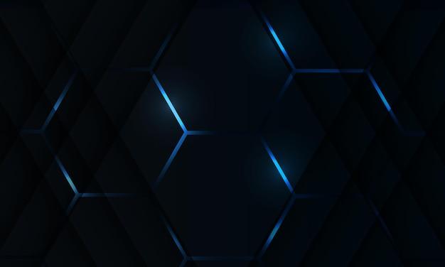 Zwarte zeshoek abstracte gaming-achtergrond met lichtblauw gekleurde heldere flitsen