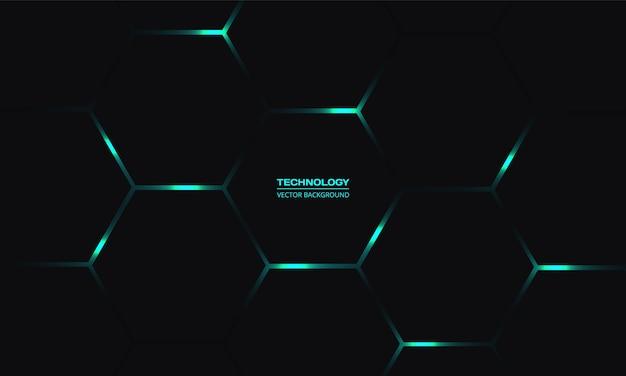 Zwarte zeshoekige technologieachtergrond met turkooise heldere energie knippert onder honingraat in donkere abstracte achtergrond.