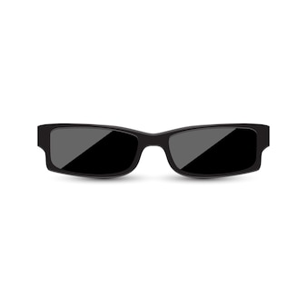 Zwarte zonnebril met donker glas op witte achtergrond.
