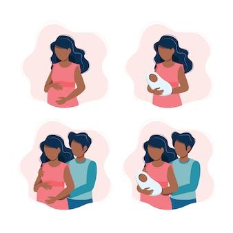 Zwarte zwangere vrouw, vrouw met een pasgeboren baby, een verwachtend zwart stel, ouders met een baby