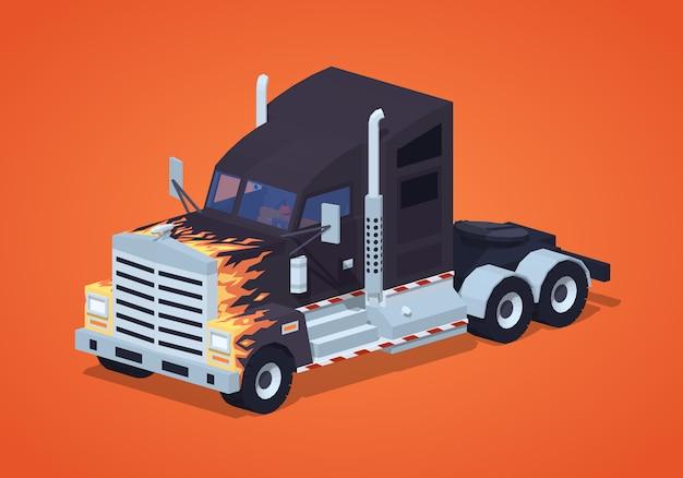 Zwarte zware 3d lowpoly isometrische vrachtwagen met het vuurpatroon
