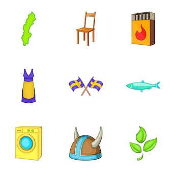 Zweden iconen set, cartoon stijl