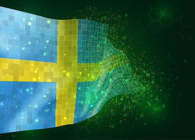 Zweden, op vector 3d-vlag op groene achtergrond met veelhoeken en gegevensnummers