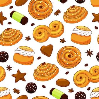 Zweedse snoepjes naadloze patroon.