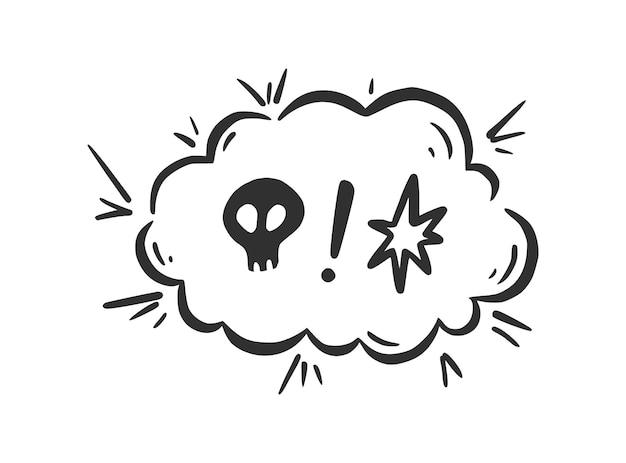 Zweer woord tekstballon. vloek, grof, scheldwoord voor boze, slechte, negatieve uitdrukking. hand getrokken doodle schets stijl. vectorillustratie geïsoleerd op een witte achtergrond.