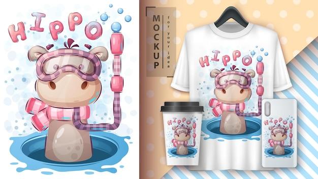 Zwem hippo-merchandising