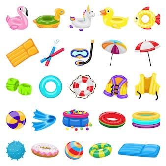 Zwembad apparatuur pictogrammen instellen. cartoon set zwembad apparatuur iconen voor webdesign