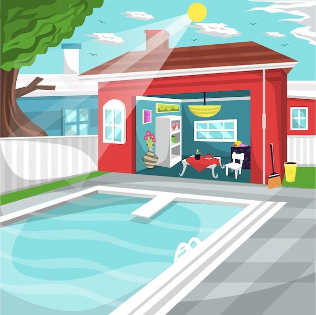 Zwembad bij huis achtertuin met gezellige rustruimte