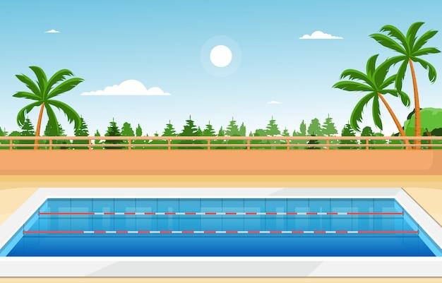 Zwembad buiten vakantie gezonde sport cartoon