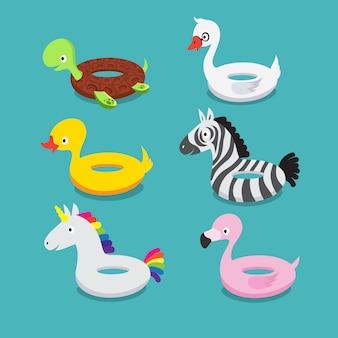 Zwembad drijft, opblaasbare dieren flamingo, eend, eenhoorn, zebra, schildpad, zwaan