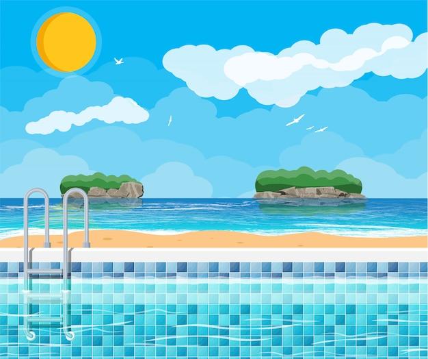 Zwembad en ladder. oceaan en eilanden.