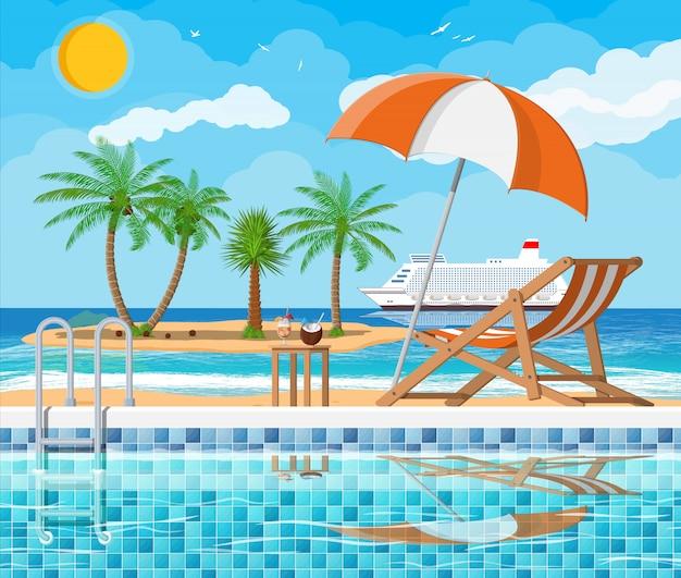Zwembad en ligstoel, eiland