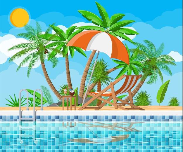 Zwembad en ligstoel, palmboom