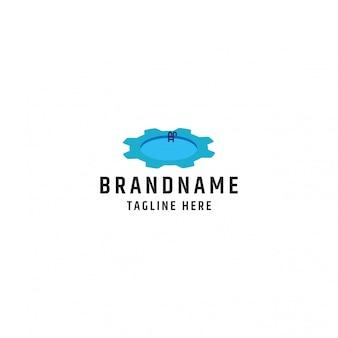 Zwembad en versnelling logo combinatie premium vector